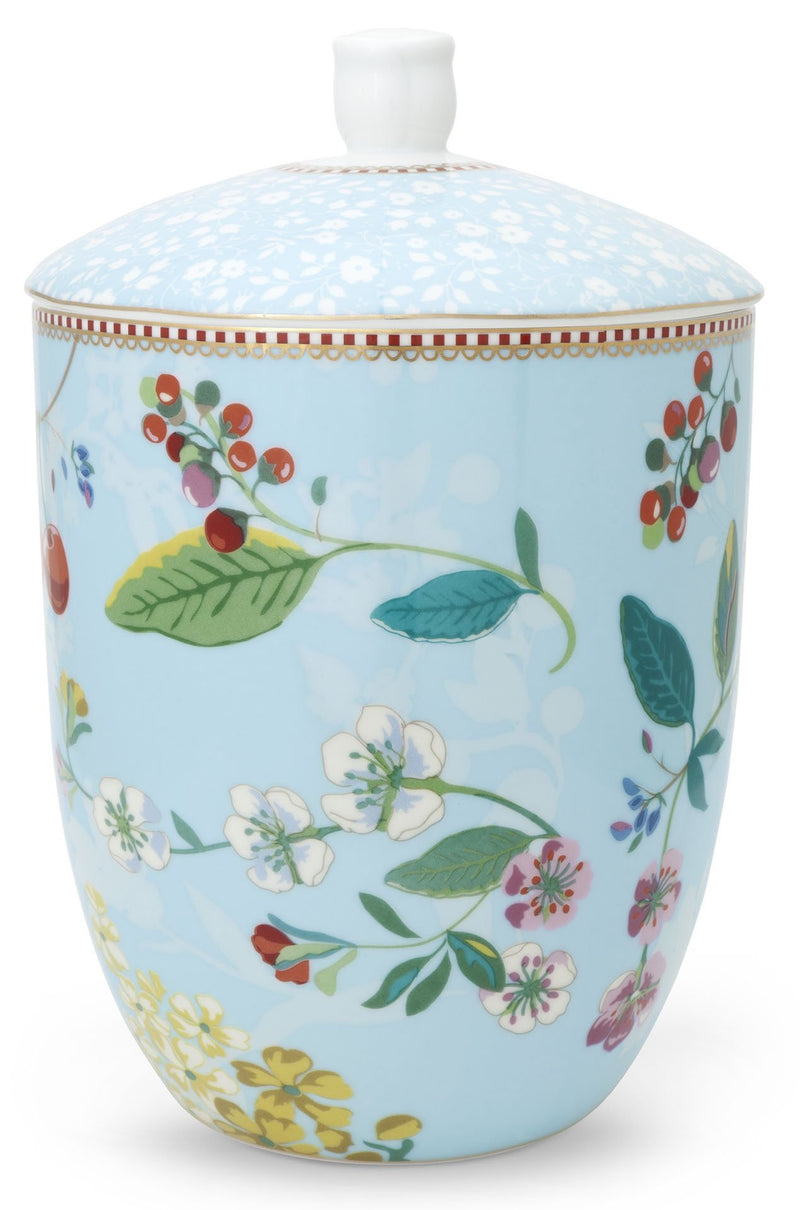 Pip Studio Floral storage jar Hummingbirds blue