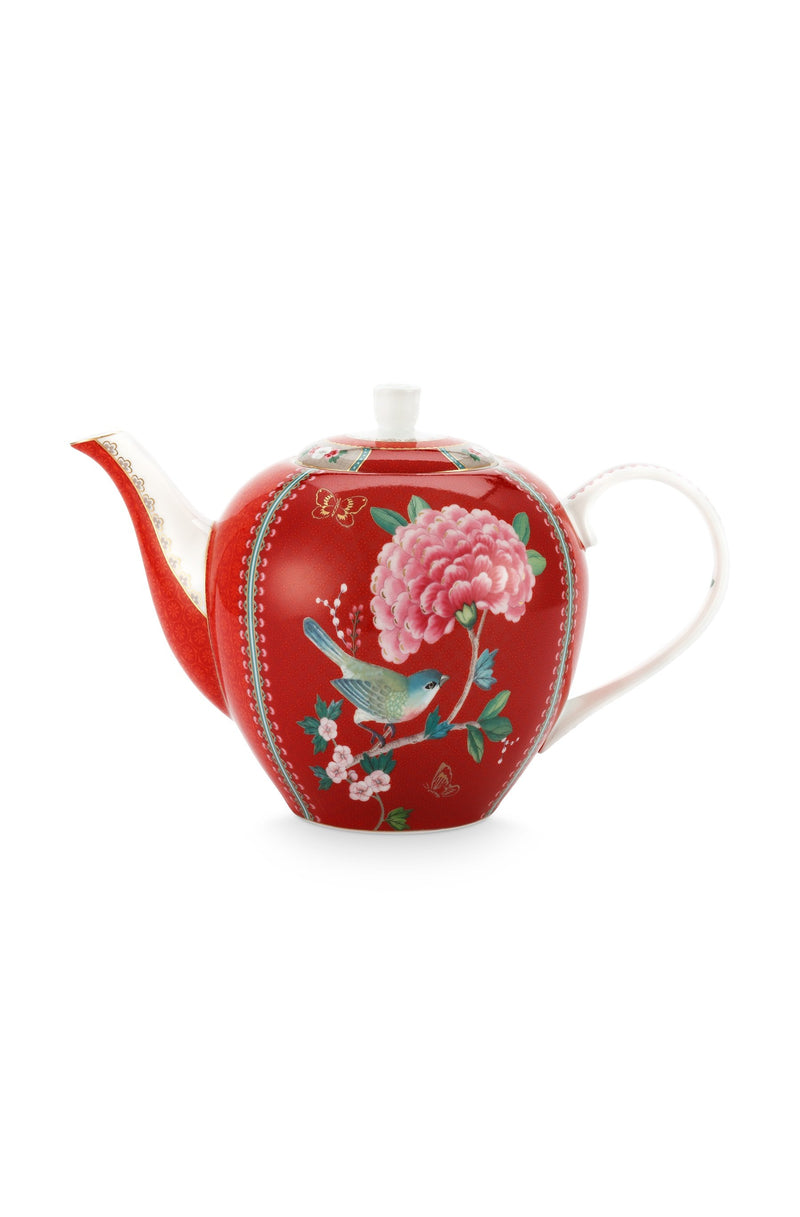Pip Studio Blushing Birds Large red teapot - Daisy Park