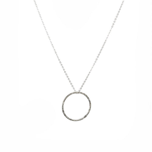 Silver Hammered hoop necklace - Daisy Park