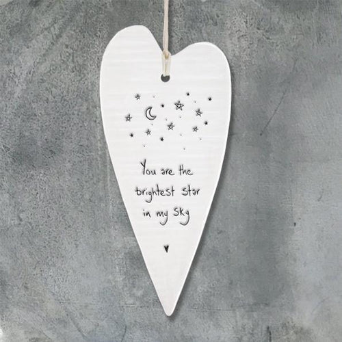 Wobbly Long Heart - 'You are the brightest star...' - Daisy Park