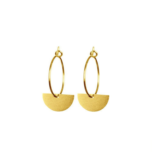 Gold semi circle hoop earrings - Daisy Park