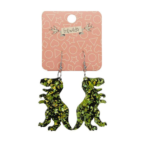 Tyrannosaurus chunky glitter resin drop earrings - Lime - Daisy Park