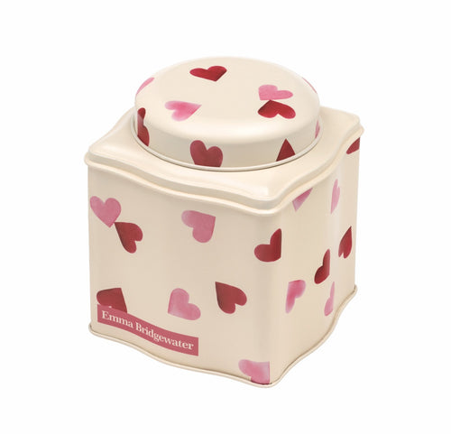 Emma Bridgewater Pink hearts dome lid curved tin caddy - Daisy Park