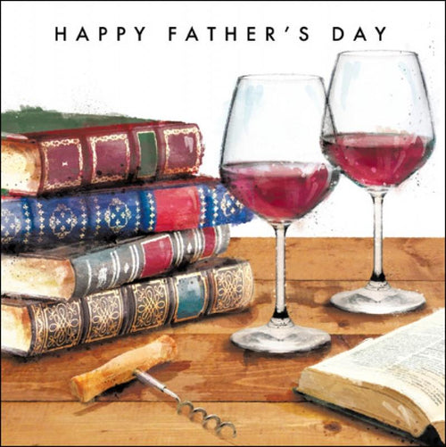 Happy Father's Day books and wine card - Daisy Park