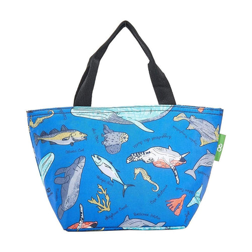 Eco Chic Blue Sea Creatures Foldable Lunch Bag - Daisy Park