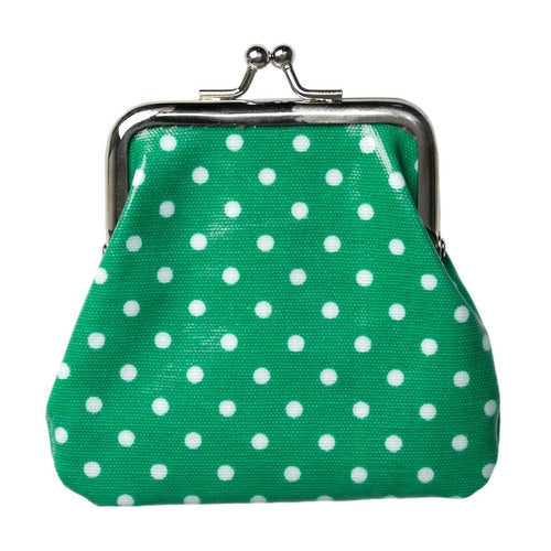 Green spotty oilcloth coin purse - Daisy Park