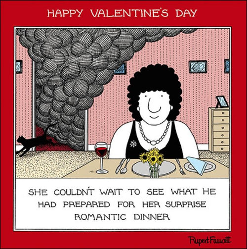 Fred Romantic dinner Valentines card - Daisy Park