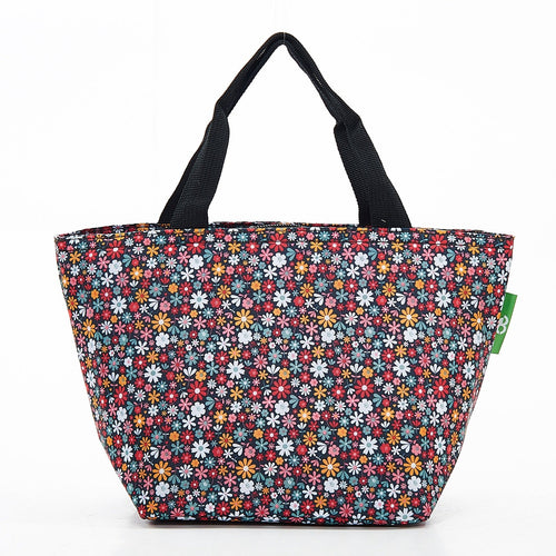 Eco Chic Black Ditsy foldable lunch bag - Daisy Park