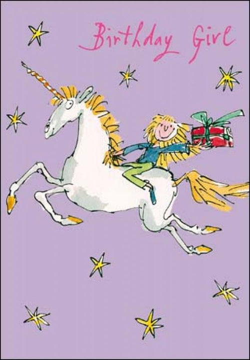Quentin Blake Unicorn Birthday card - Daisy Park