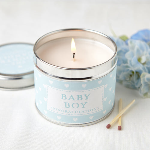 Baby Boy sentiment tin candle - Daisy Park