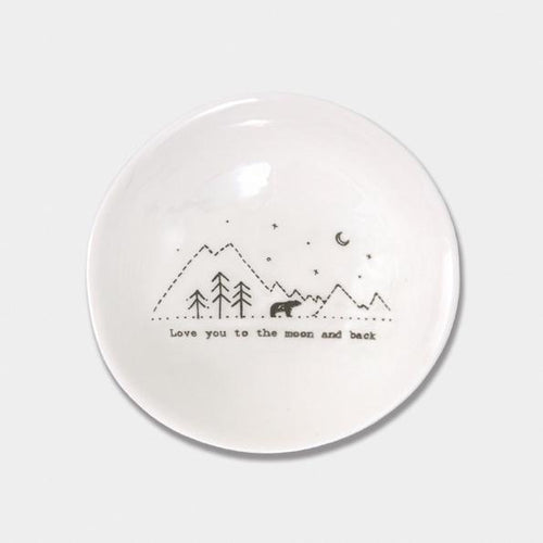 East of India Porcelain Round Wobbly bowl  - Love you to the moon