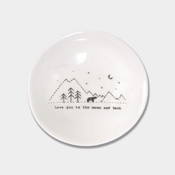 East of India Porcelain Round Wobbly bowl  - Love you to the moon - Daisy Park
