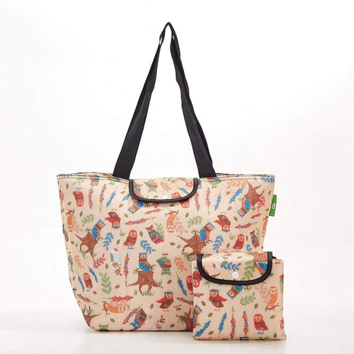 Eco Chic Beige Owl Large Cool Bag - Daisy Park