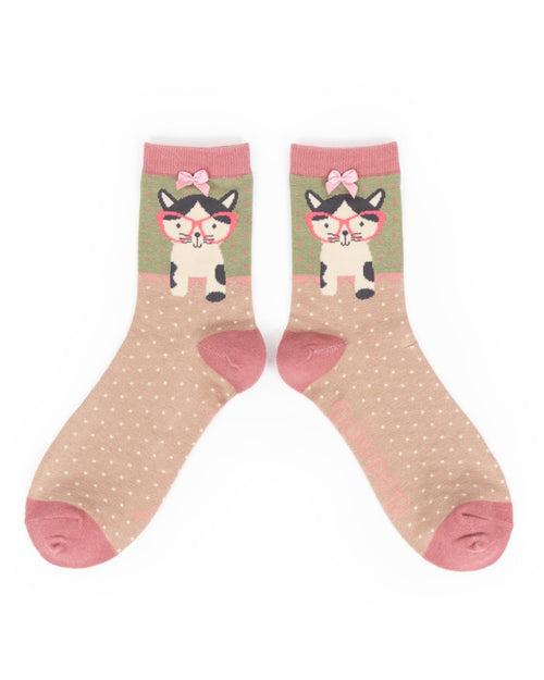 Pussy in specs ankle socks pink - Daisy Park