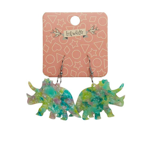 Triceratops mottled resin drop earrings - green - Daisy Park
