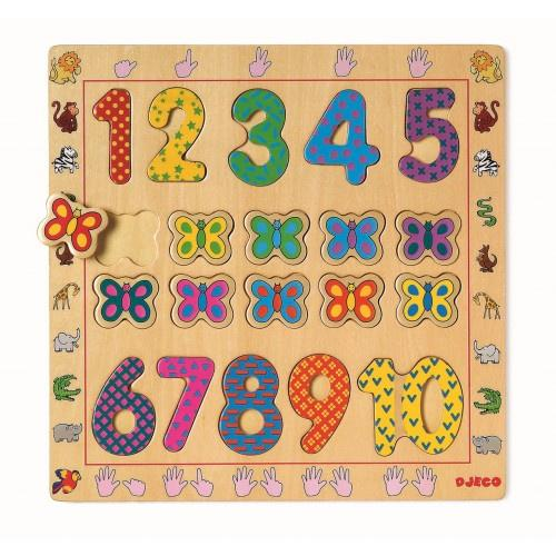 Djeco Educational Puzzle Numbers 1 - 10 - Daisy Park