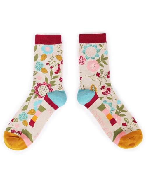 Scandi floral ankle sock cream - Daisy Park