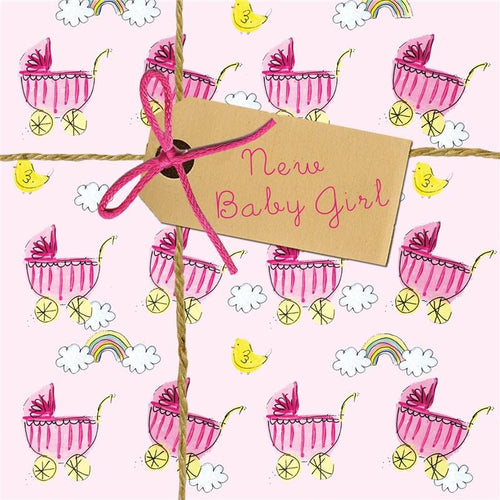 New baby girl pram card - Daisy Park