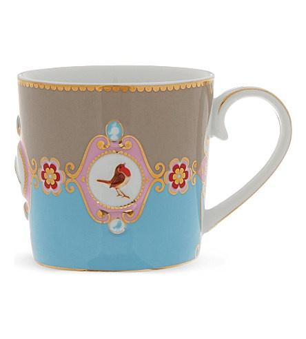 Pip Studio Love Birds Blue Khaki medallion Senseo mug - small