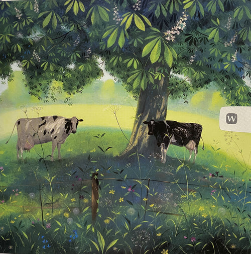 Cows under a Horse Chestnut tree card - Daisy Park