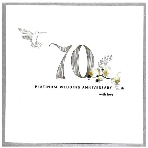 Platinum wedding anniversary card - Daisy Park