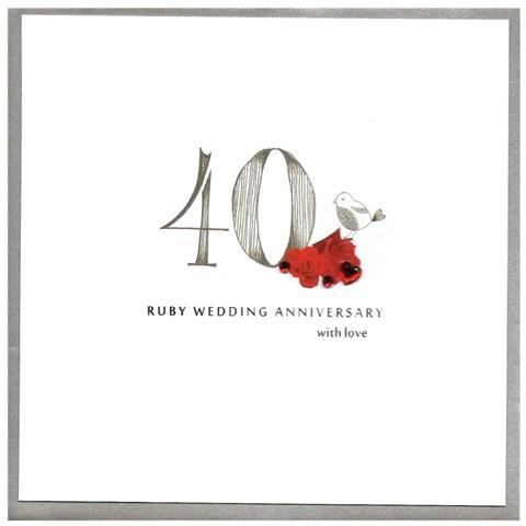 Ruby wedding anniversary card - Daisy Park
