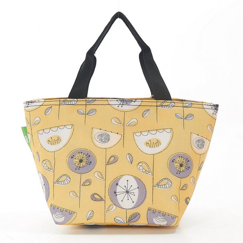 Eco Chic Mustard 1950's Flower lightweight foldable lunch bag - Daisy Park