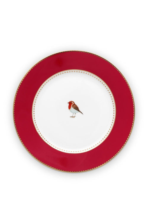 Pip Studio 17cm red plain Love Birds cake plate