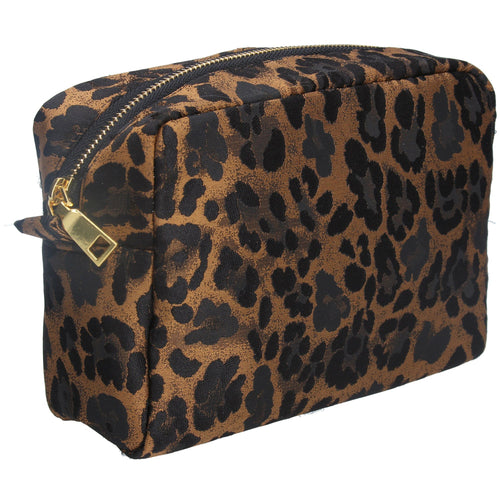 Copper leopard jacquard cosmetic pouch - Daisy Park