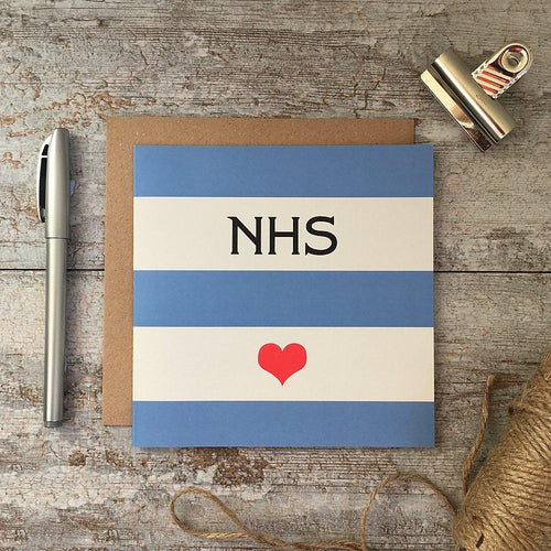 NHS  - Blue stripe heart card - Daisy Park