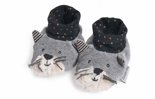 Moulin Roty Les Moustaches Fernand light grey slippers