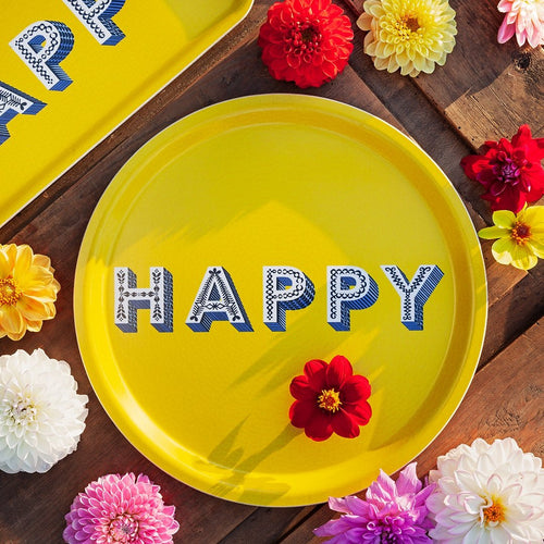 Asta Barrington Happy Yellow Round Tray - Daisy Park