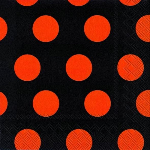 Big dots black and orange cocktail napkins - Daisy Park