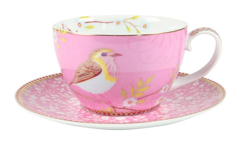 Pip Studio pink bird teacup and saucer - Daisy Park