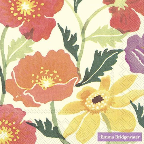 Emma Bridgewater Cosmos & Poppies Cream Lunch Napkins - Daisy Park