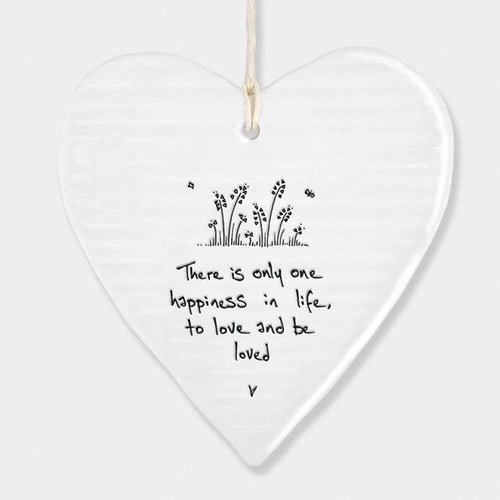 East of India Porcelain Round Heart - One Happiness - Daisy Park