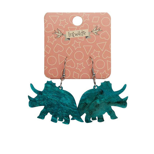 Triceratops ripple glitter resin drop earrings - emerald - Daisy Park