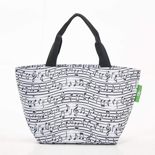 Eco Chic White Music Foldable Lunch Bag - Daisy Park
