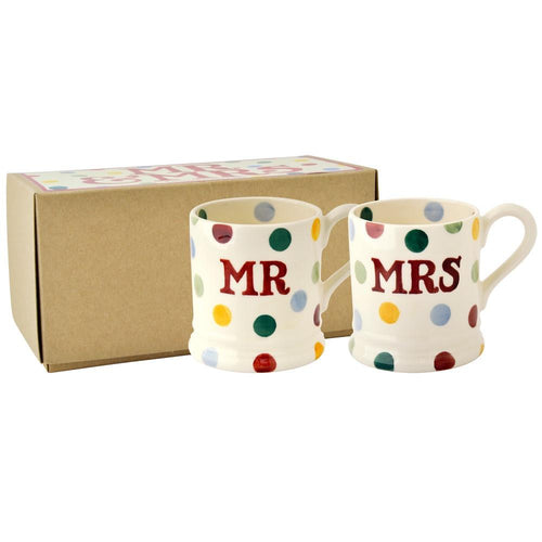 Emma Bridgewater Polka dots Mr & Mrs 1/2pt mug set - Daisy Park