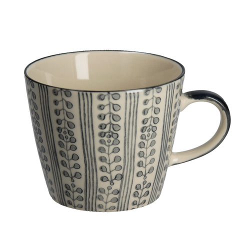 Grey stripe ceramic mug - Daisy Park