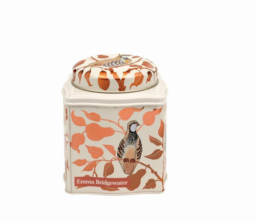 Emma Bridgewater Partridge dome lid curved tin - Daisy Park