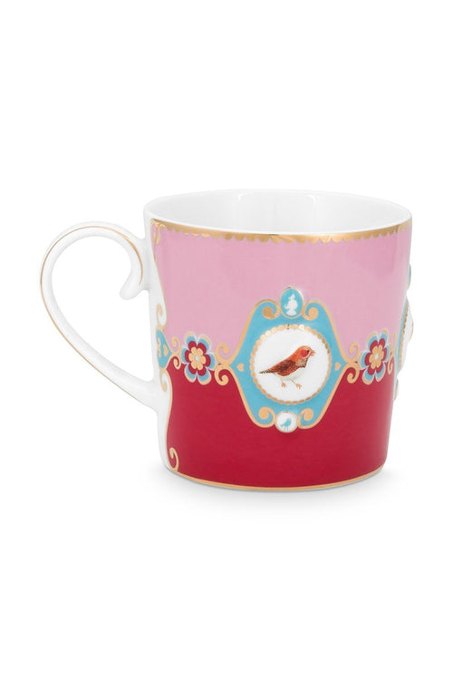 Pip Studio Love Birds Red pink medallion Senseo mug - small