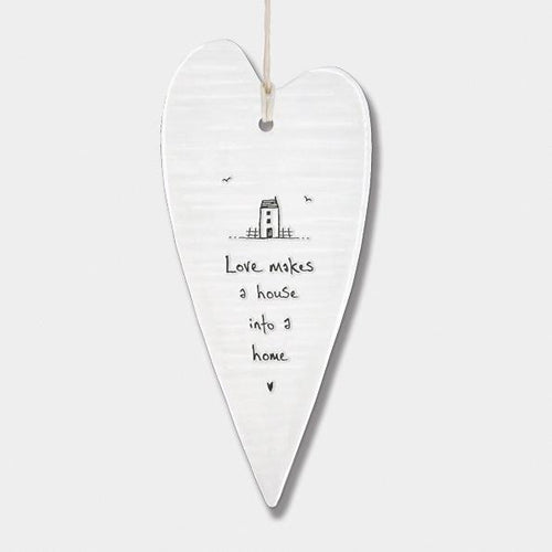 East of India Porcelain Long Heart - Love Makes a House - Daisy Park
