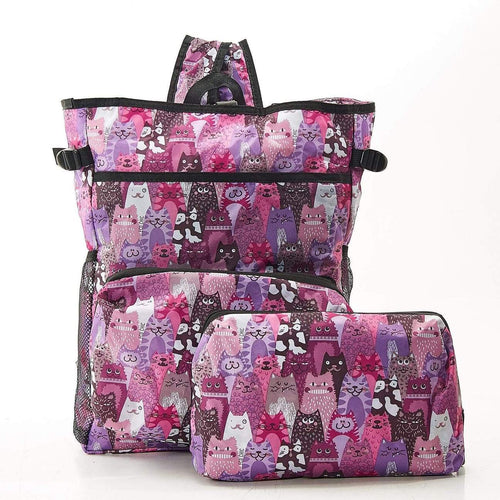 Eco Chic Purple Cats Cool Stacking Backpack - Daisy Park