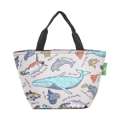 Eco Chic Grey Sea Creatures Foldable Lunch Bag - Daisy Park