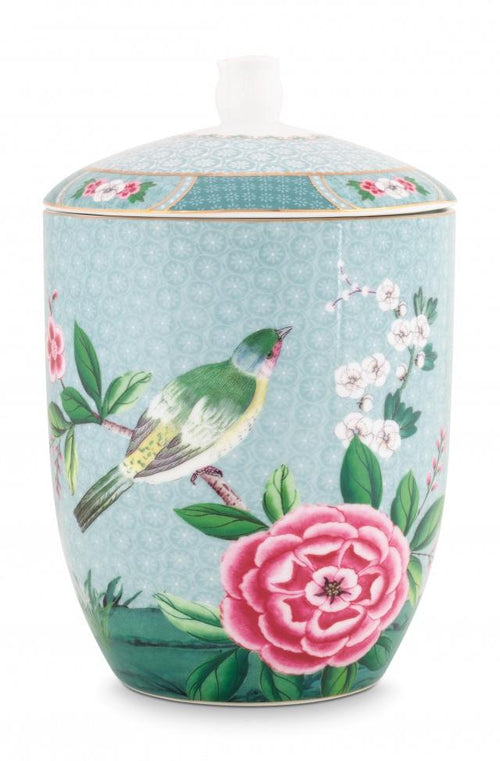 Pip Studio Blushing Birds blue storage jar - Daisy Park