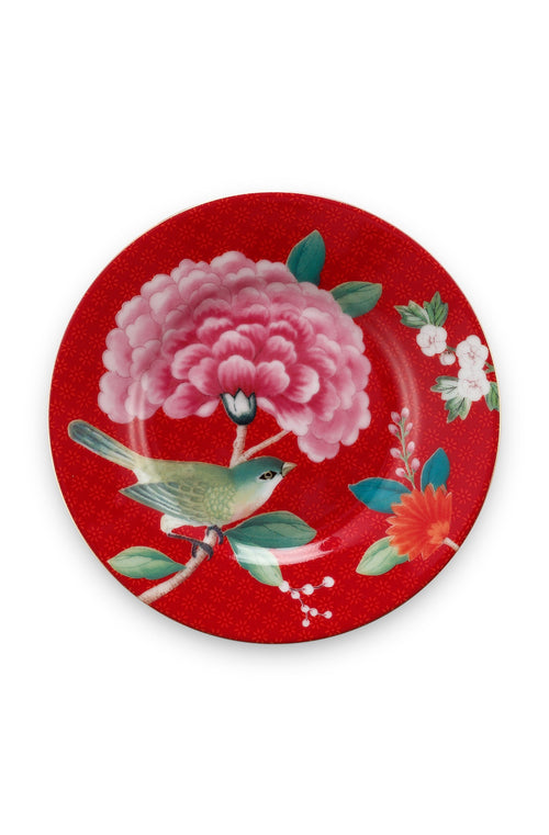 Pip Studio Blushing Birds red 12cm Petit Four plate - Daisy Park