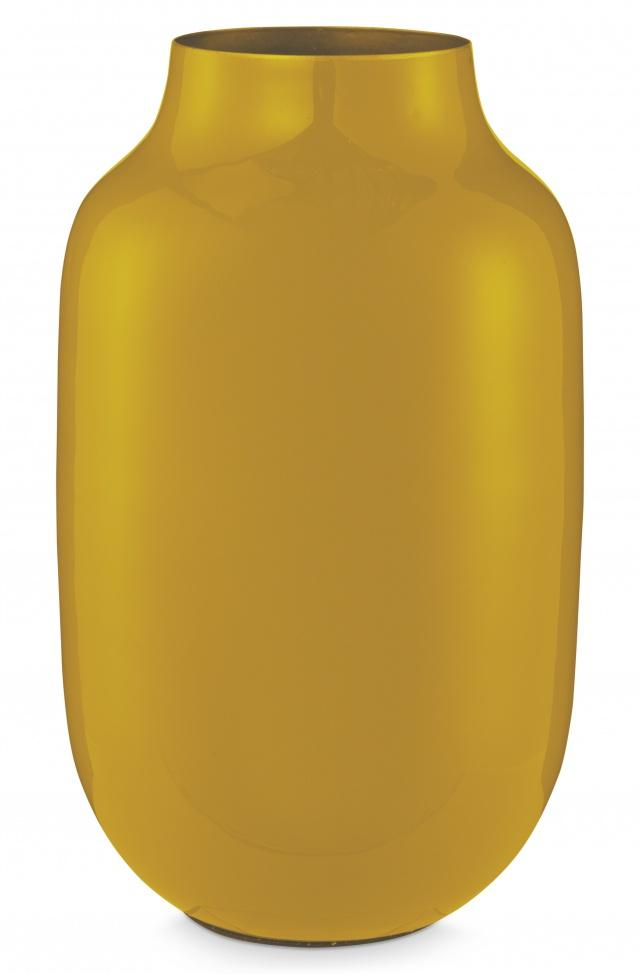 Pip Studio Yellow oval 30cm metal vase - Daisy Park