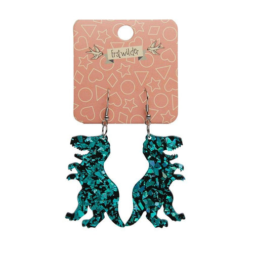 Tyrannosaurus chunky glitter resin drop earrings - teal - Daisy Park