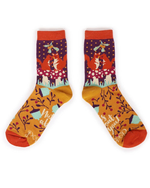 Snogging squirrels ankle socks - Daisy Park